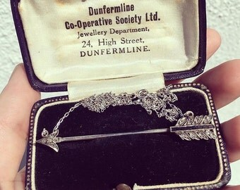 Antique Victorian Diamond, Black Onyx Arrow Necklace
