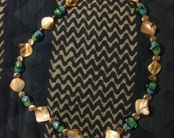 Blue beaded shell necklace