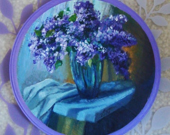 Violet Flowers Wood Painting (original) FREE SHIPPING