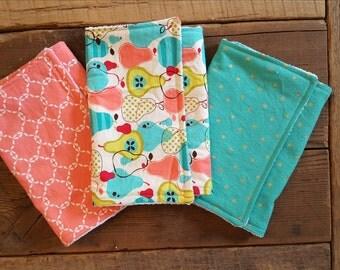 Pear Print Burp Cloth Set