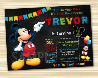mickey mouse invites | etsy, Party invitations