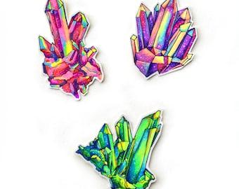 Hand Drawn Original Crystal Cluster Illustration Stickers