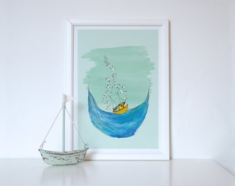 Won't you have a fishy? print - Seaside Print - Seaside Decor - Seaside Painting - Gift For Fisherman - Bathroom Decor - Fishing Boat art