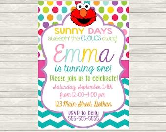 Elmo Invitation - Girl Elmo Invitation - Elmo Birthday Invitation - Girly Elmo Party - Colorful Elmo Invitation - Printable Elmo Invitation