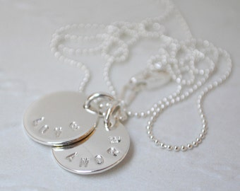 Love / Amore (Double Tag) Sterling Silver Necklace. Handstamped. Friendship Gift. Unique Gift.