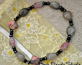 Foggy morning grey/pink bracelet
