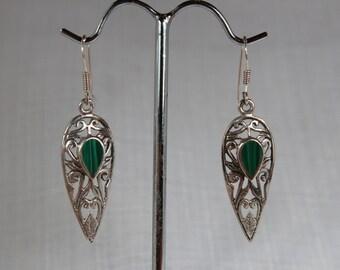 Art Nouveau Silver malachite earring