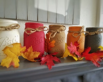 3 (16 Ounce) Mason Jar Fall Centerpiece| Fall Centerpiece| Fall Decor| Mason Jar Centerpiece| Mason Jar Decor