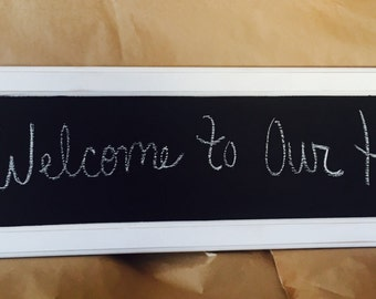Custom Distressed Rustic Chalkboard with Family Letter and Burlap Bow