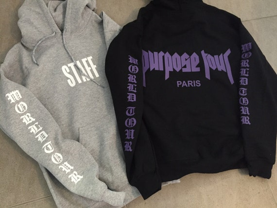 justin bieber purpose tour staff hoodie exclusive paris pop. Black Bedroom Furniture Sets. Home Design Ideas