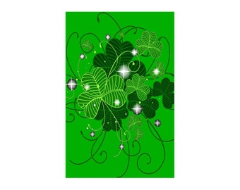 "Shamrocks ~ St Patrick's Day Card ~ 5"" x 7"" Portrait, Folded ~ Sets of 5, 10, 15, 20, 25"