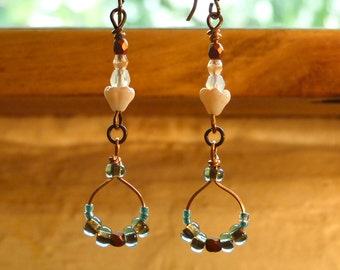 Peach and Turquoise Long Earrings