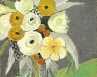 Vase with White and Ocre Flowers