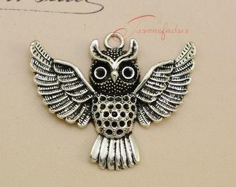 5PCS--50x45mm ,Large Owl Charms, Antique Tibetan silver owls Charms Pendants, DIY supplies,Jewelry Making JAS0044