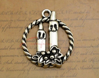 10PCS--32x27mm, Christmas candle Charms, Antique Silver Christmas candle Charm pendants , Jewelry Making,Necklace pendant LCM0107