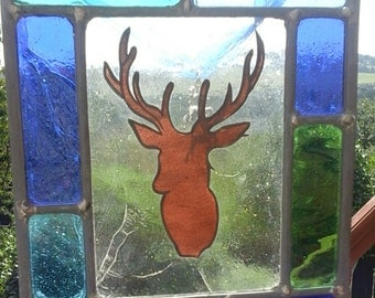 Stag. Stained glass Stag. A hand made and hand painted stained glass panel. Hang in a window. Gift for a animal lover. Nature.