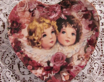 Vintage Plate Collectors Heavenly Hearts Liberty and Peace by Thomas L Cathey 1994 Crestley Limited Edition Numbered Plate