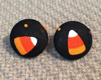 holiday halloween candy corn fabric earrings