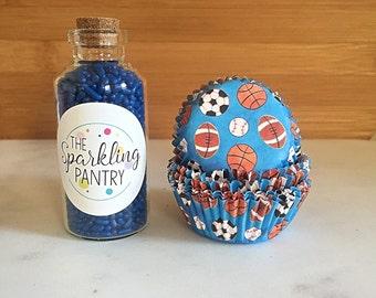 Sports MINI Cupcake Kit, Decorating Kit, Blue Sprinkles and Liners