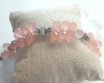Pink chalcedony and labradorite sterling silver cherry blosssom bracelet.