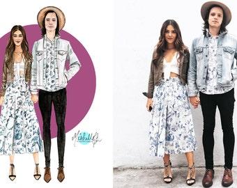 Couple Fashion Custom Illustration Portrait