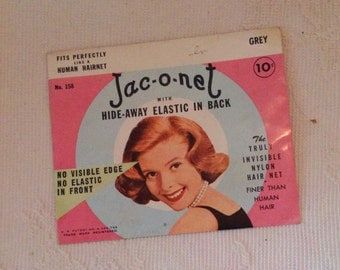 Vintage 1960 Jac-O-Net Hair Net / 60s Hair Net / Grey Hair Net / Invisible Hair Net / Nylon Hair Nettting / Jaconet /