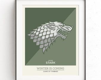 House Stark poster. Inspired art Game of thrones. Stark banner. Art poster printable. Home decor stark. House warming gift. Stark banner