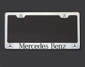 Engraved metal frame etsy for Mercedes benz stainless steel license plate frame