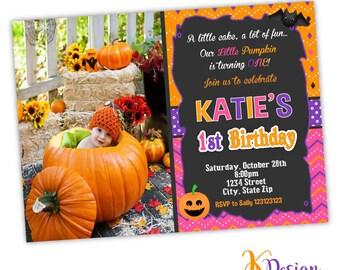 Girl Halloween 1st Birthday Invitation, Printable Invitation