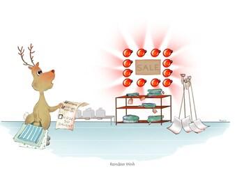 Merry Critter wall art // Christmas art // holiday art // reindeer art // reindeer illustration