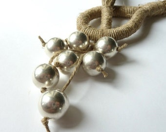 Wedding Linen Necklace Contemporary Natural Linen Necklace with Silver Acrylic Beads