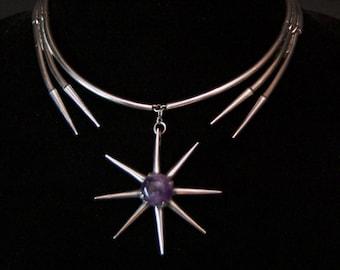 Sterling Silver & Amethyst Necklace/Pendant Salvador Teran Modernist Design VC