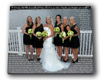 Maid of Honor Speech Canvas as After Wedding Gift. BFF Custom Wedding Picture To Canvas. Word Art. Bridesmaids gift.