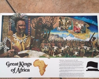 """Vintage Anheuser-Busch """"The Great Kings of Africa"""" Collection Print of Mosheshoe King of Bastuoland (1815-1868)"""