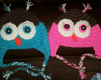 Custom made crochet owl hats