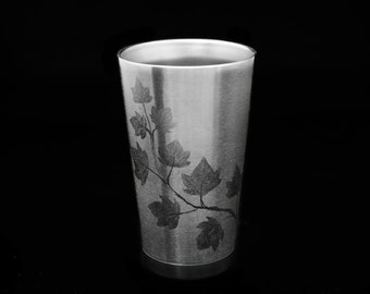 Hand Engraved Grape Vine on Stainless Steel Insulated 18oz Pint Cup