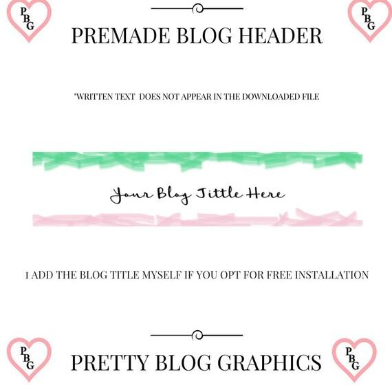Blog header design, green blog header, pink blog header, premade blog header, blog header, blogger blog header, rectangle blog logo