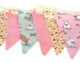 Pink and Green Rabbit Bunting