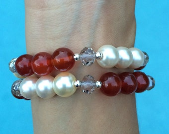 Brown and cream bracelets set of 2