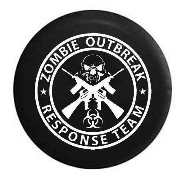 Zombie Outbreak Response Team Skull Guns Jeep Camper Spare