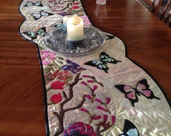 Spring Table Runner flowerering branches and butterflies on batik background give this table runner an oriental flair