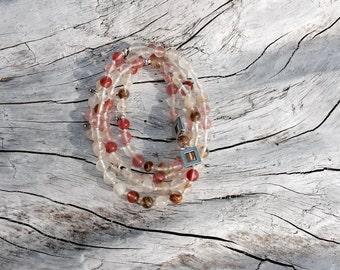Rose Quartz Stones with Silver Accents • necklace • bracelet •