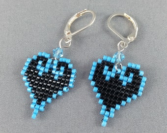 Kingdom Hearts Earrings - Pixel Earrings Heart Earrings Pixel Jewelry 8 bit Earrings Seed Bead Earrings Nerdy Earrings Nerdy Gift