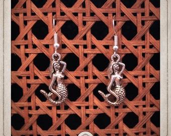 Mermaid earrings silver water BOA005