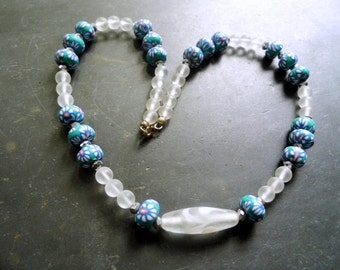 Crystal, Quartz, Necklace, Fimo Clay, Glass, Sparkle, Elements, white, blue, Jewelry, Girls