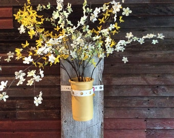 Barnwood sconce with clay flower pot