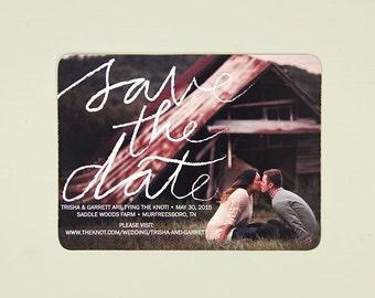 Elegant Script Engagement Photo Save the Date Postcard // Wedding Save the Date Postcard Announcement