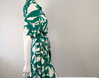 Reworked Revamped Green Patterned Vintage Dress