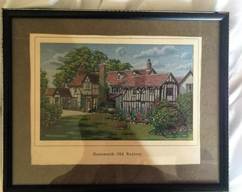1963 Vintage BWA Macclesfield Woven Silk Picture 'Gawsworth Old Rectory'