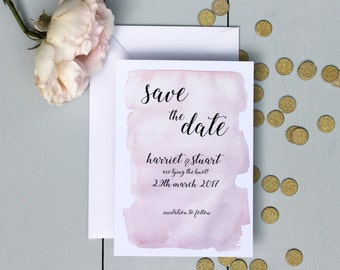 Wedding Save The Date, Watercolour Wedding Save The Date Invite, Pink Calligraphy Wedding Save The Date Card